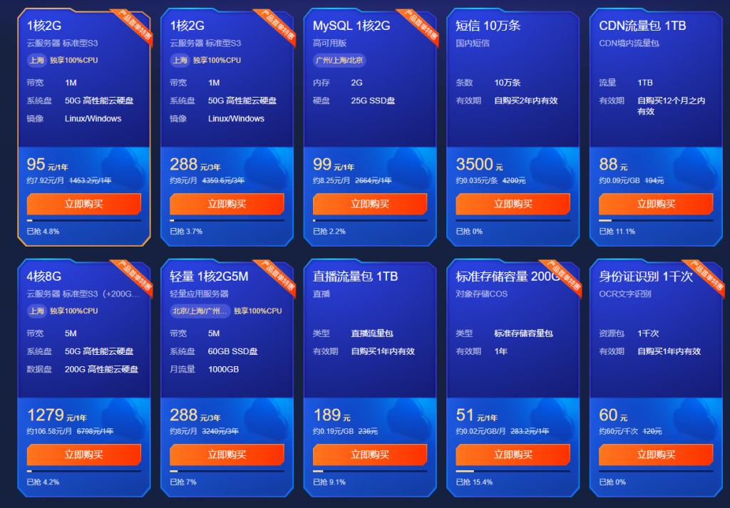 腾讯云服务618大促_腾讯云服务年中大促销_云主机低至年95元插图2